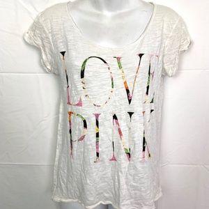 Victorias Secret PINK White Graphic T-Shirt Top XS